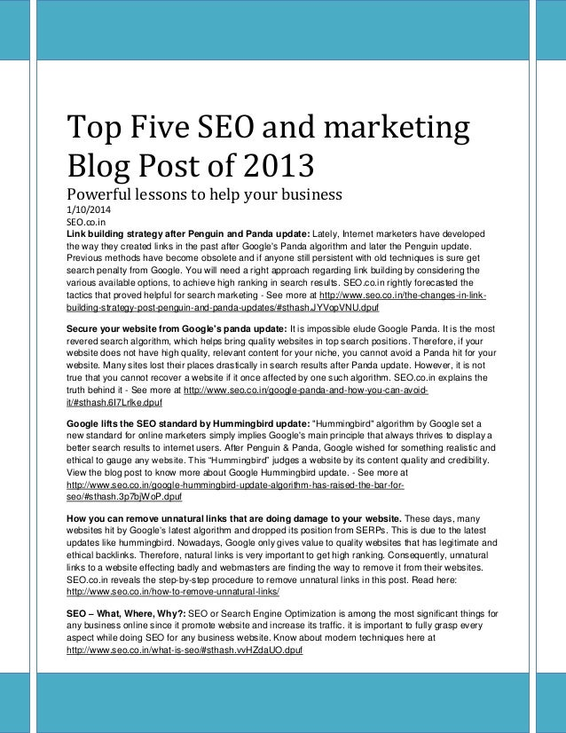 Top Five SEO and marketing Blog Post of 2013 Powerful lessons to help your business 1/10/2014 SEO.co.in Link building stra...