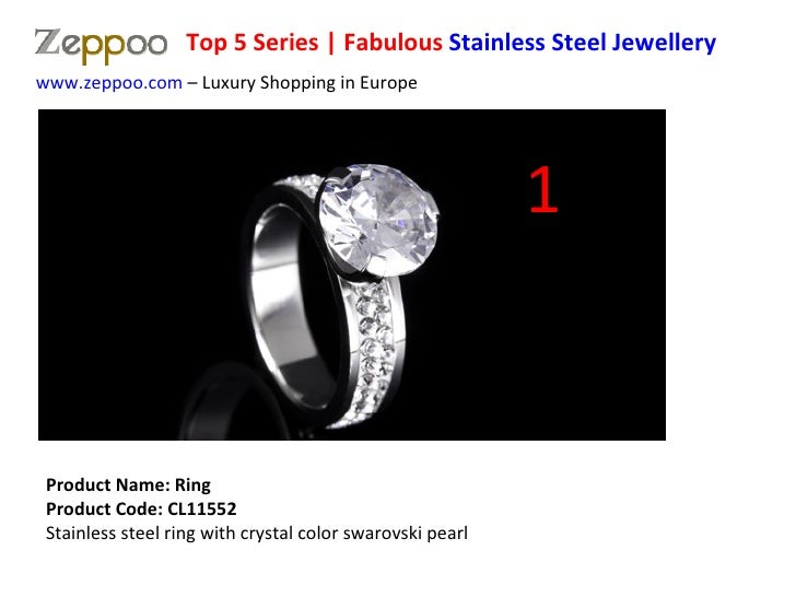 Product Name: Ring  Product Code: CL11552 Stainless steel ring with crystal color swarovski pearl www.zeppoo.com  – Luxury...