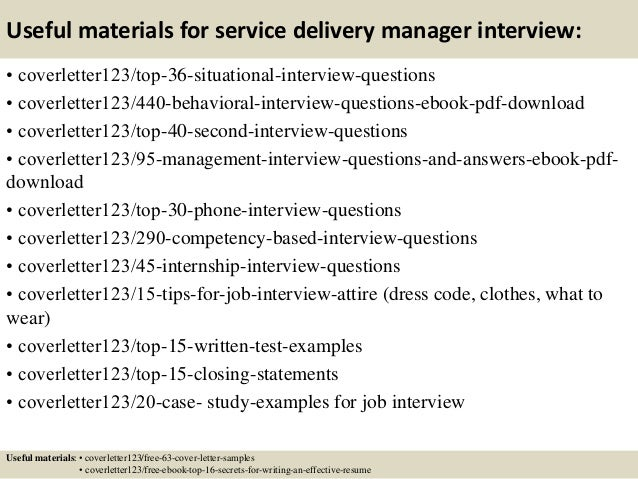 Service Delivery Manager Cover Letter Sample   LiveCareer Service Delivery Manager Critical Communications Resume samples