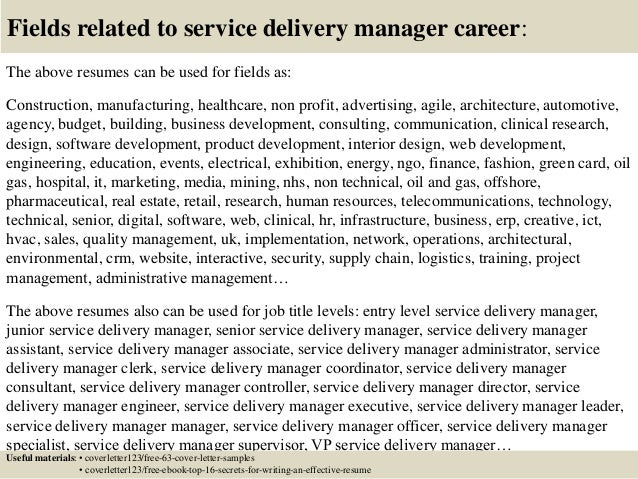 sample service delivery manager cover letters - Fieldstation.co