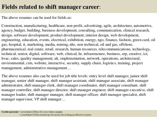 Top 5 shift manager cover letter samples