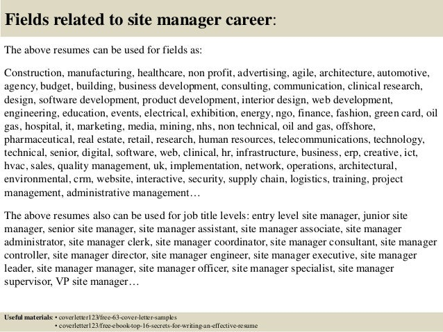 Site Manager Cover Letter