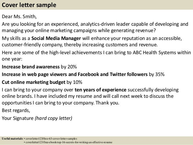 Social Media Assistant Cover Letter