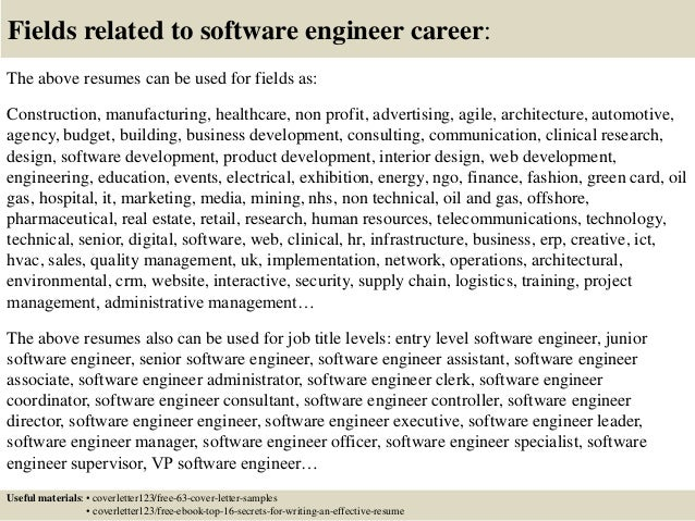 Top  Software Engineer Cover Letter Samples