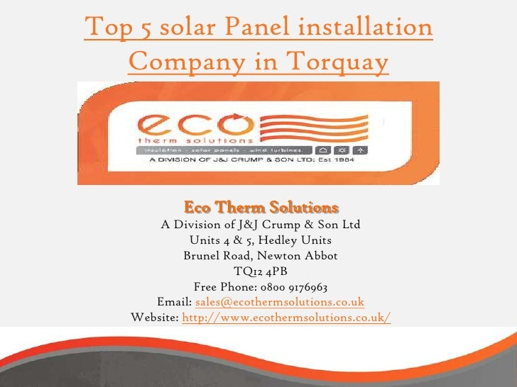 Top 5 solar Panel installation   Company in Torquay           Eco Therm Solutions       A Division of J&J Crump & Son Ltd ...