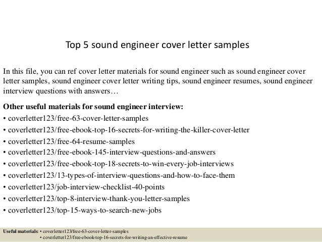 Top 5 Sound Engineer Cover Letter Samples In This File, You Can Ref Cover  Letter ...