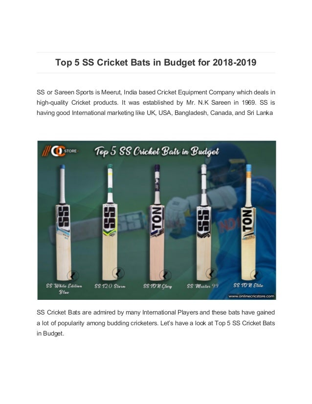 Top 5 Ss Cricket Bats In Budget For 2018 2019