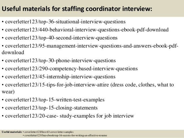more - Staffing Coordinator Resume