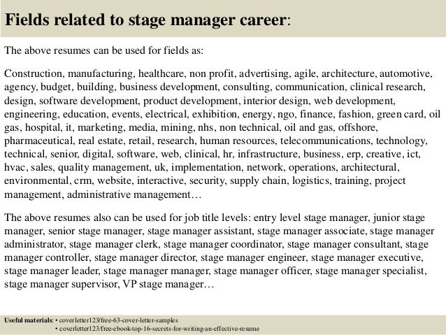 top 5 stage manager cover letter samples