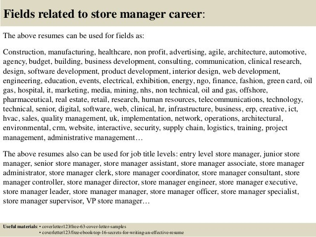 store manager cover letter sample retail assistant store manager ...