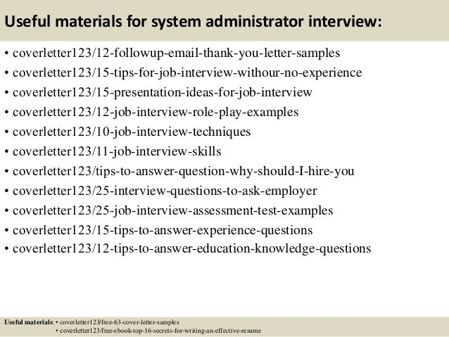 Cover Letter Sample System Administrator