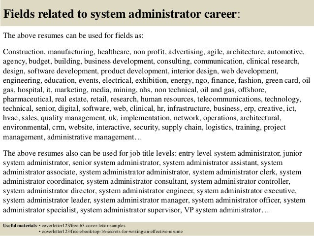 systems administrator cover letters
