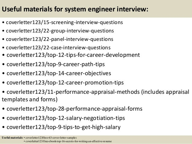 Top 5 system engineer cover letter samples