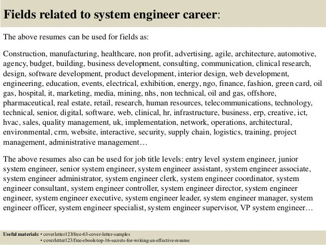 16 fields related to system engineer - Junior System Engineer Sample Resume