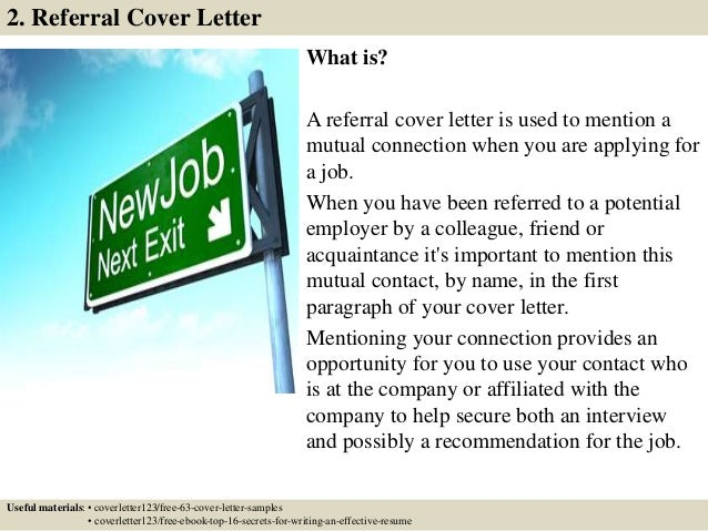 cover letter examples with referral