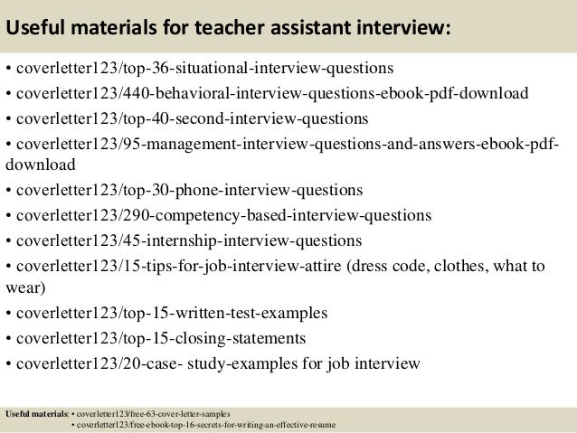 ... 12. Useful Materials For Teacher Assistant ...  Teaching Assistant Cover Letter