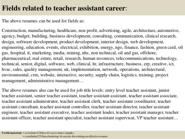 ... 16. Fields Related To Teacher Assistant ...  Teacher Assistant Cover Letter