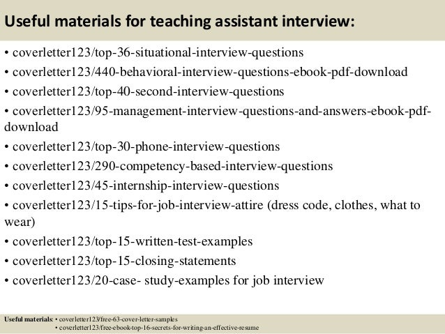12 useful materials for teaching assistant - Sample Cover Letter For Teacher Assistant