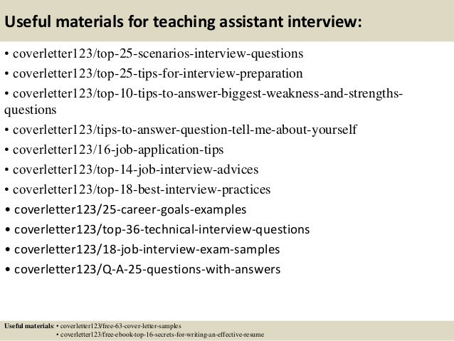 13 useful materials for teaching assistant - Sample Cover Letter For Teacher Assistant