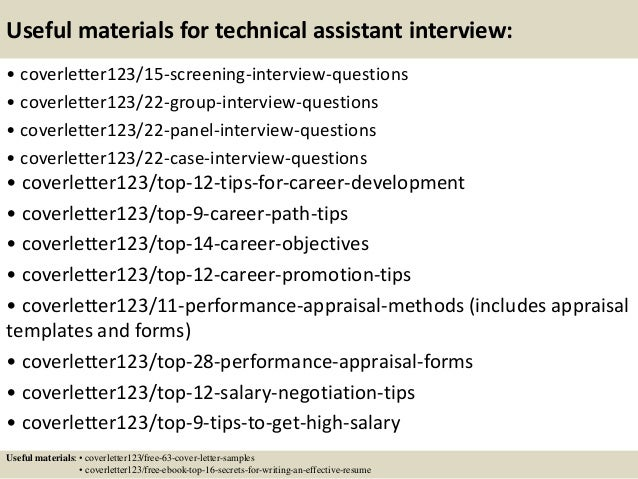 ... 15. Useful Materials For Technical Assistant ...