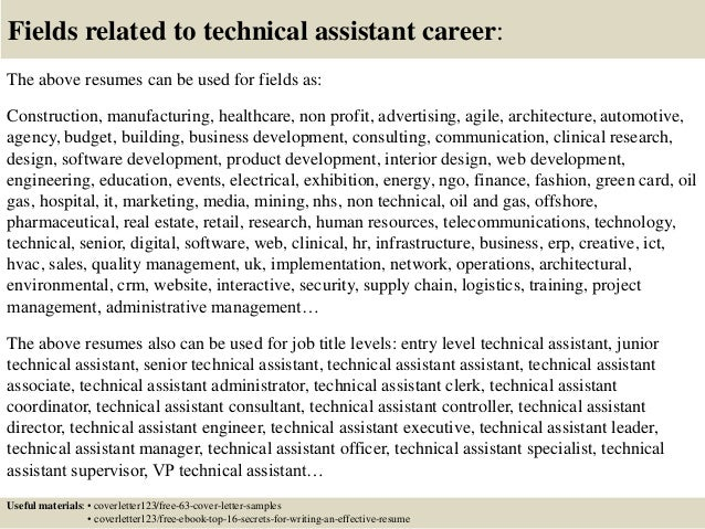 Fields Related To Technical Assistant ...