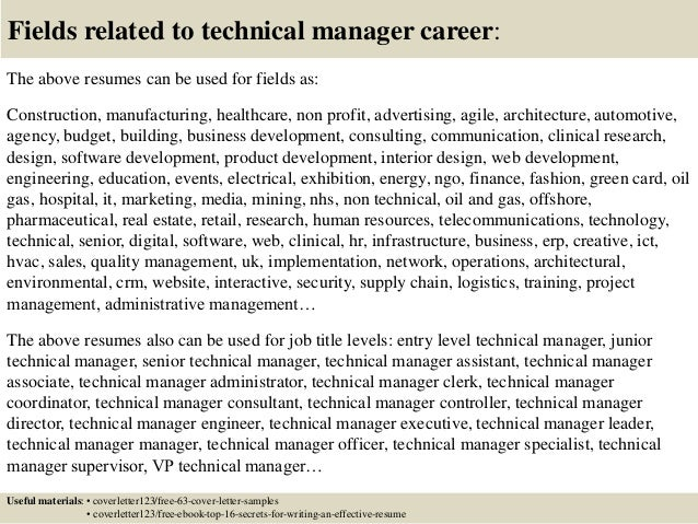 technical director cover letter