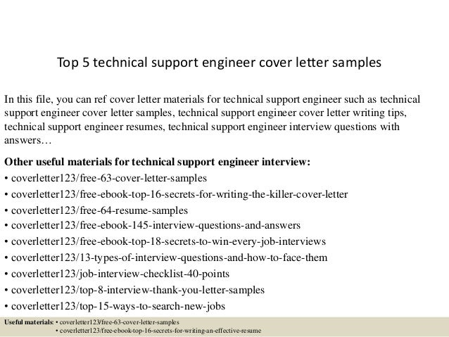Top 5 Technical Support Engineer Cover Letter Samples In This File, You Can  Ref Cover 1. Application ...