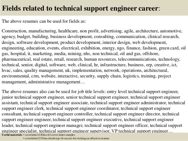 fields related to technical support engineer - Field Support Engineer Sample Resume