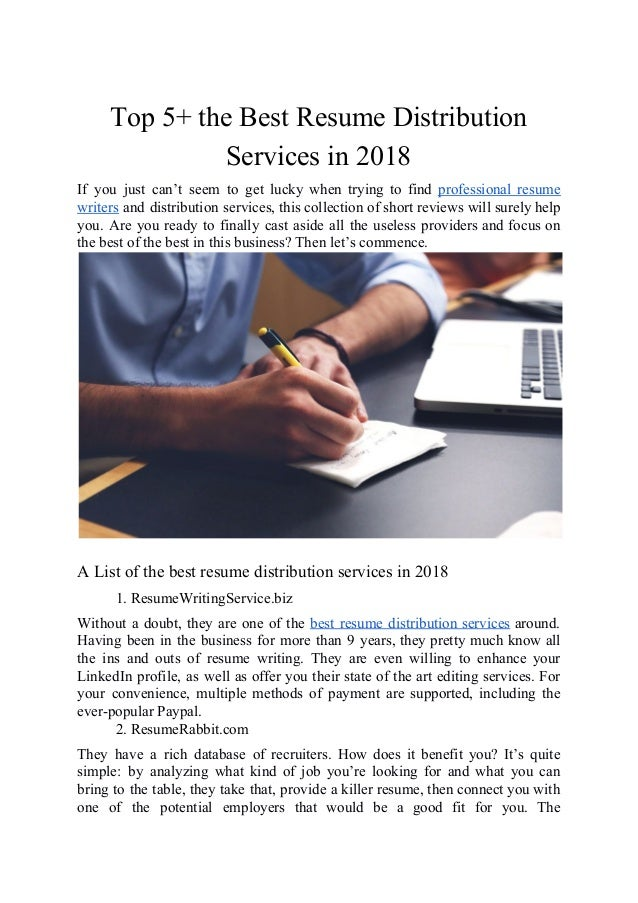 Top 5 The Best Resume Distribution Services In 2018