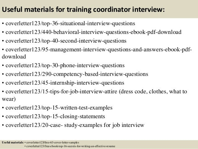 ... 12. Useful Materials For Training Coordinator ...