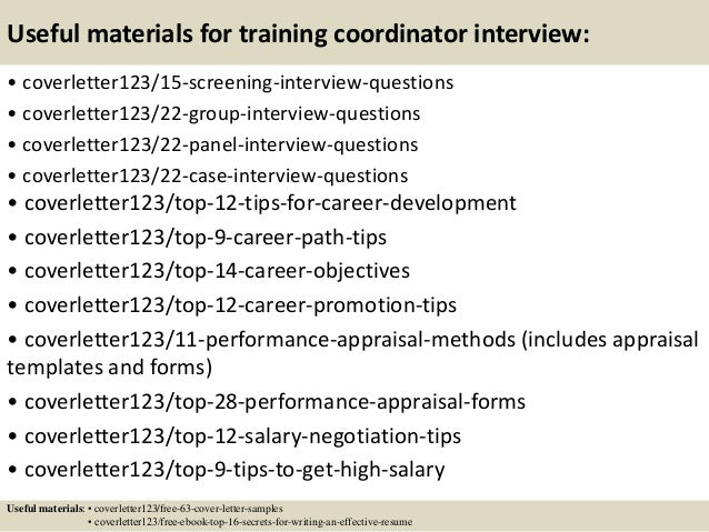 Top 5 training coordinator cover letter samples
