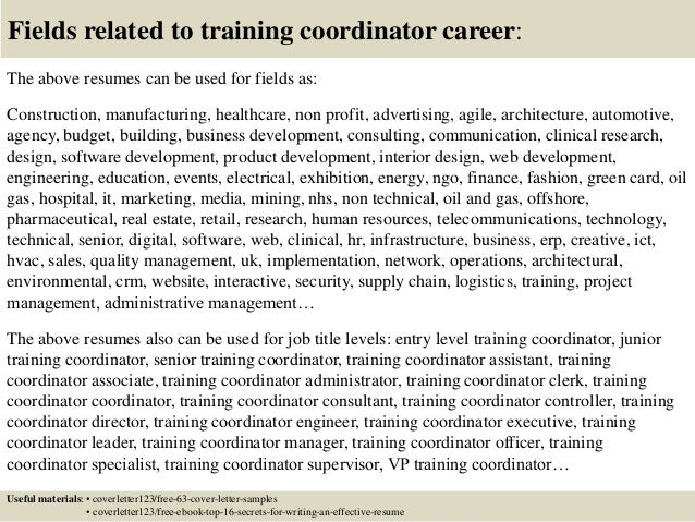 16 Fields Related To Training Coordinator