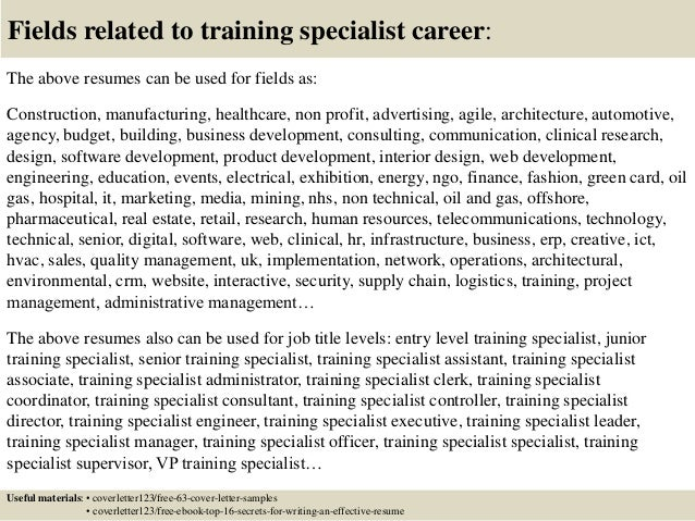 Top 5 training specialist cover letter samples 16 fields related to training spiritdancerdesigns Images