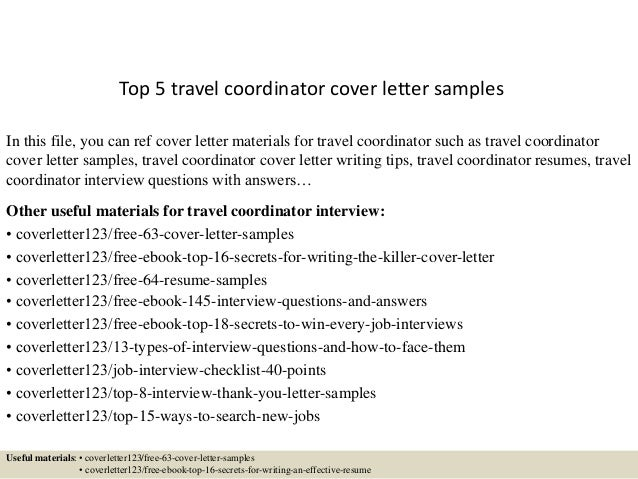 top 5 travel coordinator cover letter samples