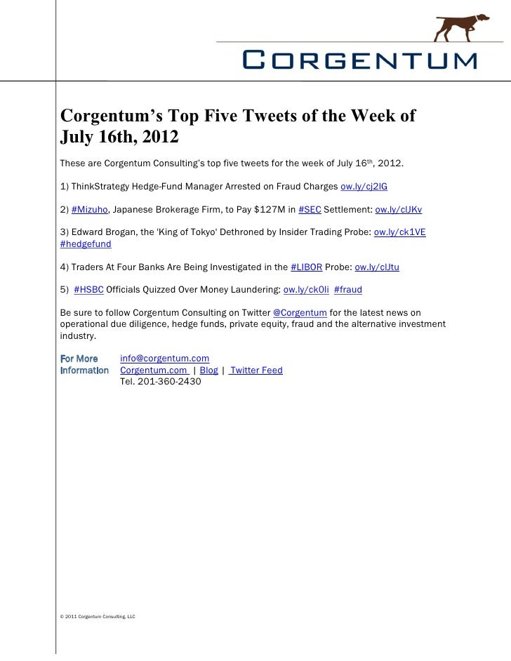 Corgentum's Top Five Tweets of the Week ofJuly 16th, 2012These are Corgentum Consulting's top five tweets for the week of ...