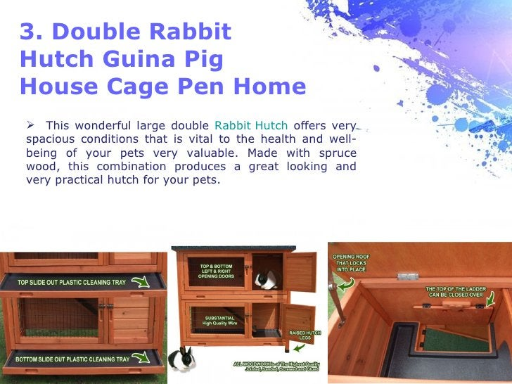 3. Double RabbitHutch Guina PigHouse Cage Pen Home This wonderful large double Rabbit Hutch offers veryspacious condition...