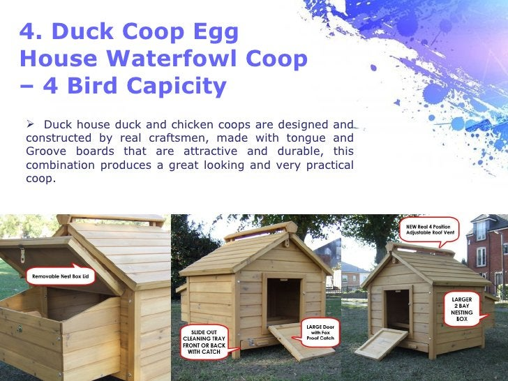 4. Duck Coop EggHouse Waterfowl Coop– 4 Bird Capicity Duck house duck and chicken coops are designed andconstructed by re...