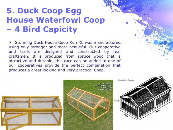 5. Duck Coop EggHouse Waterfowl Coop– 4 Bird Capicity Stunning Duck House Coop Run XL was manufacturedusing only stronger...
