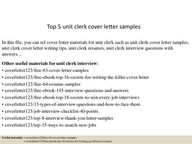 Perfect Unit Clerk Cover Letter