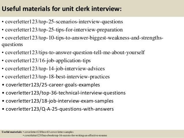 Top 5 unit clerk cover letter samples
