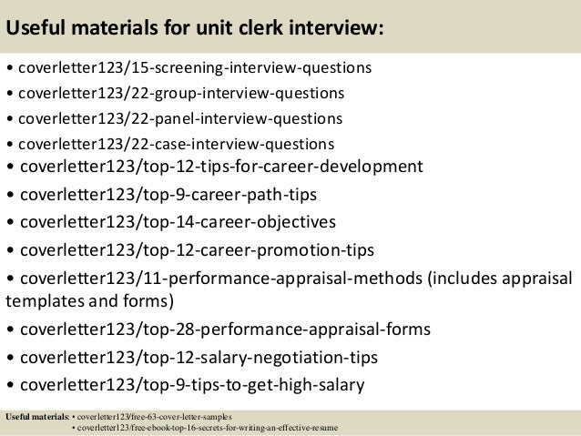 15 Useful Materials For Unit Clerk