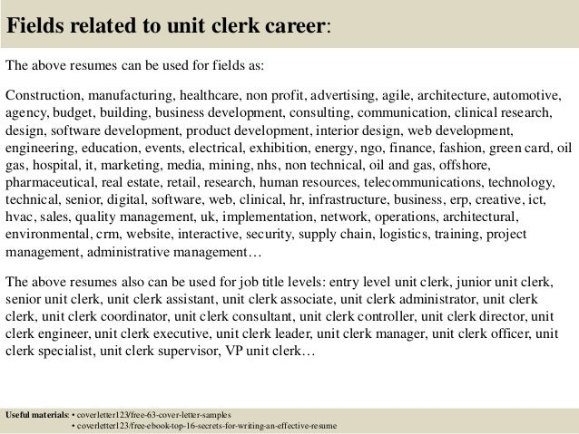 Top 5 unit clerk cover letter samples