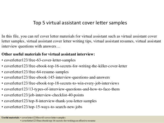 top 5 virtual assistant cover letter samples in this file you can ref cover letter - Virtual Assistant Resume Sample