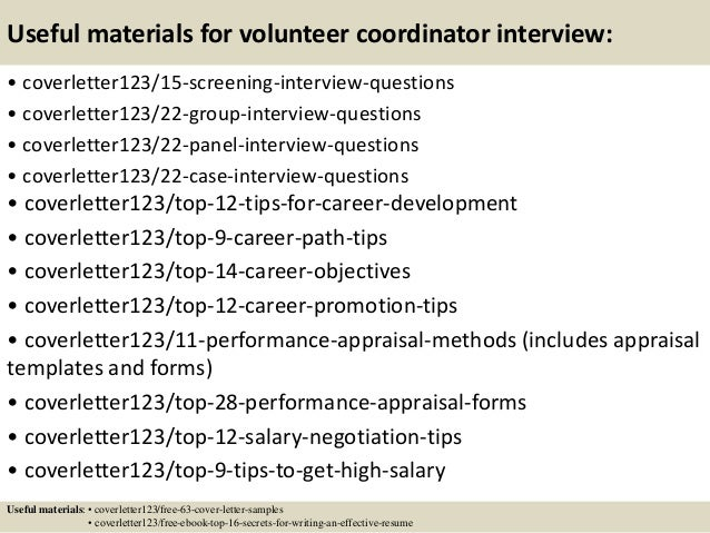 volunteer coordinator resume sample cover letters and