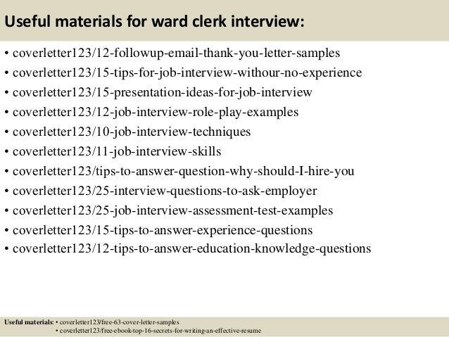 Top 5 ward clerk cover letter samples