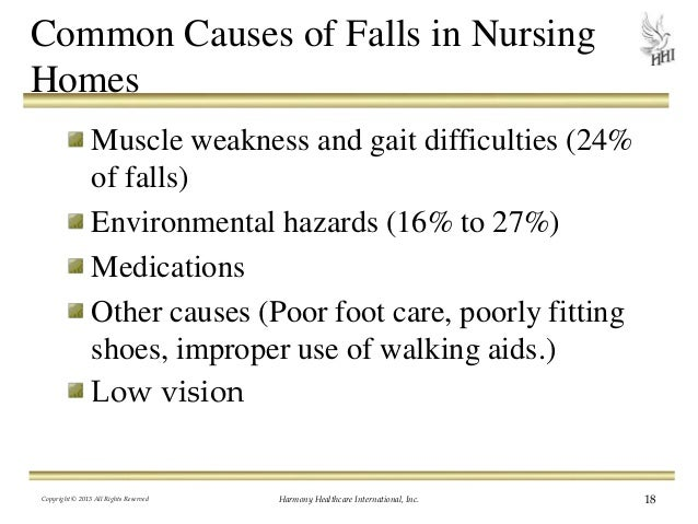 an analysis of the patient falls in the nursing homes Q: are all falls in the nursing home preventable a: according to the centers for medicare & medicaid services (cms), a fall is defined as failure to maintain an appropriate lying, sitting, or standing position, resulting in an individual's abrupt, undesired relocation to a lower level.