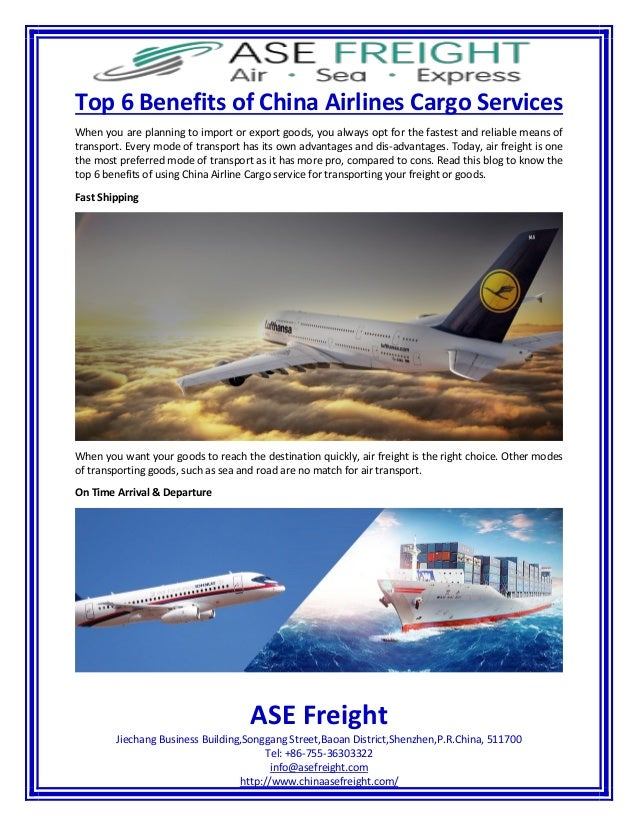Top 6 benefits of china airlines cargo services