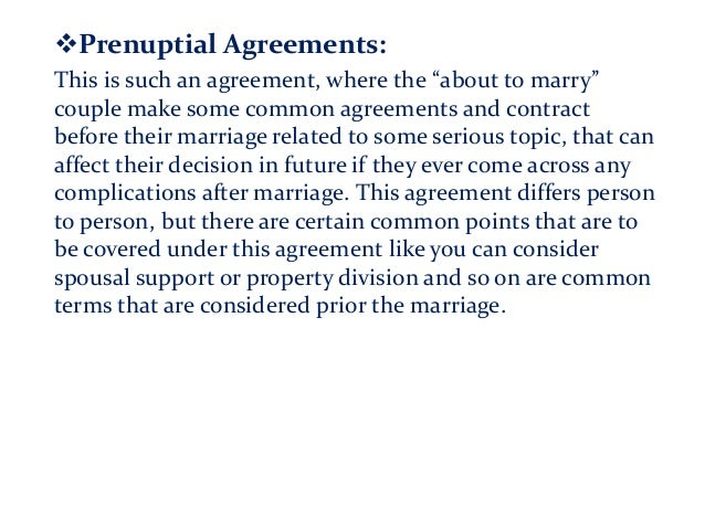 """Prenuptial Agreements: This is such an agreement, where the """"about to marry"""" couple make some common agreements and contr..."""