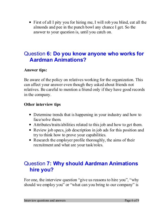 Top 7 aardman animations interview questions and answers – Job Description for Animator