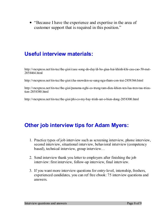 Attractive Interview Questions And Answers Page 7 Of 9; 8.